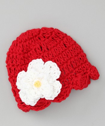Red & White Flower Scallop Knit Beanie