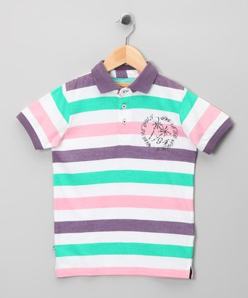 Pink & Seafoam Stripe Polo - Infant, Toddler & Boys