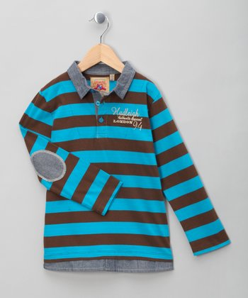 Brown & Blue Stripe Polo - Infant, Toddler & Boys
