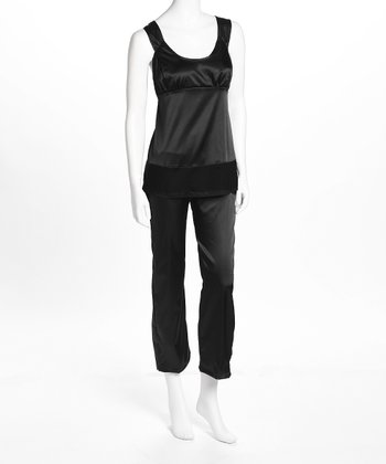 Black Satin Nursing Pajamas