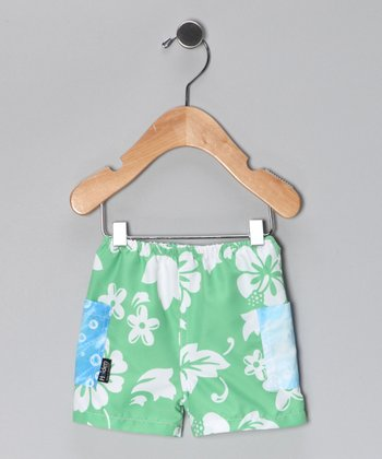 Green & Blue Bonzai Swim Trunks - Infant