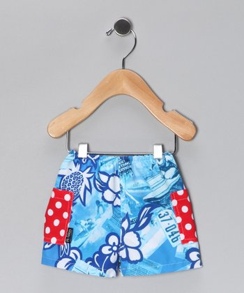 Blue & Red Cherry Bomb Swim Trunks - Infant