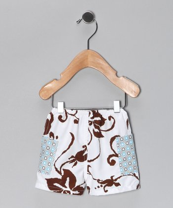 Brown & White Tiki Hut Swim Trunks - Infant