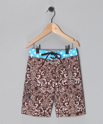 Brown & Turquoise Bali Babe Boardshorts - Infant