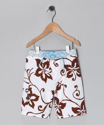 Brown & White Tiki Hut Boardshorts - Infant