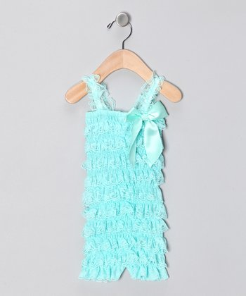 Aqua Lace Ruffle Romper - Infant & Toddler