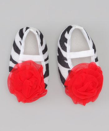 Zebra & Red Rosette Mary Jane