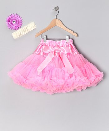 Pink Flower Pettiskirt Set - Toddler & Girls