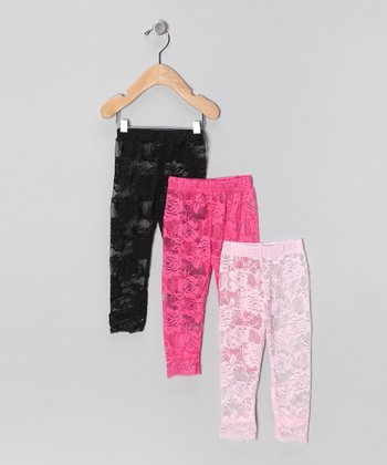 Pink & Black Lace Leggings Set - Infant, Toddler & Girls