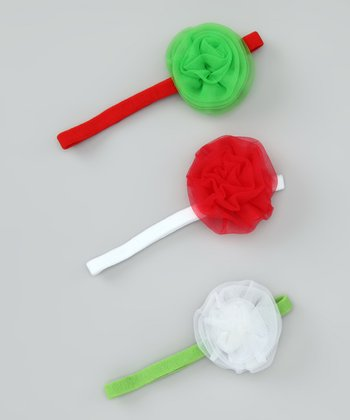 Red, Green & White Rosette Headband Set