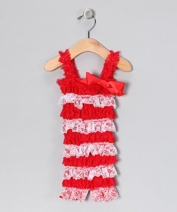 Red & White Lace Ruffle Romper - Infant & Toddler