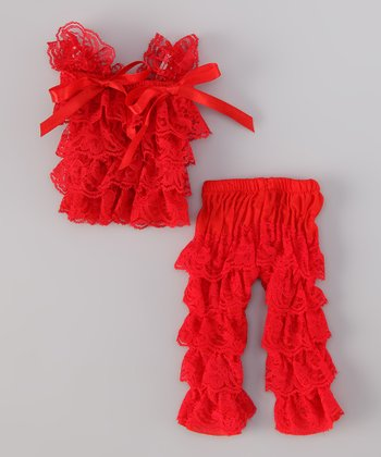 Red Lace Doll Outfit