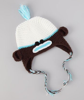 Blue & Brown Monkey Earflap Beanie