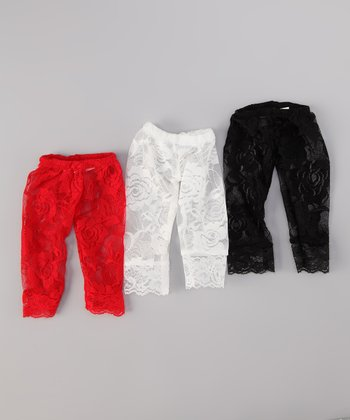 Red, Black & White Lace Leggings Doll Outfit Set