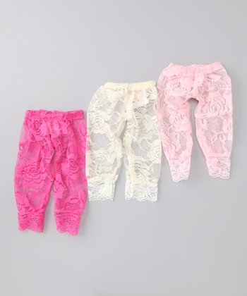 Pink & Ivory Lace Doll Leggings Set