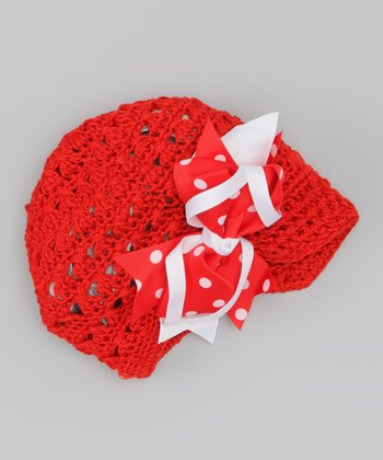 Red & White Crocheted Beanie