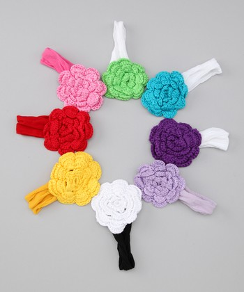 Rainbow Flower Headband Set