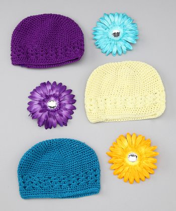Purple, Turquoise & Yellow Beanie Set