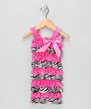 Hot Pink Satin & Lace Ruffle Romper - Infant & Toddler