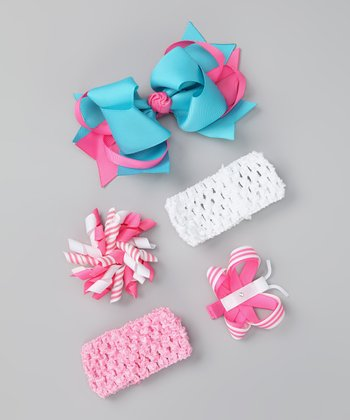 Teal & Pink Bring Home Baby Headband Set