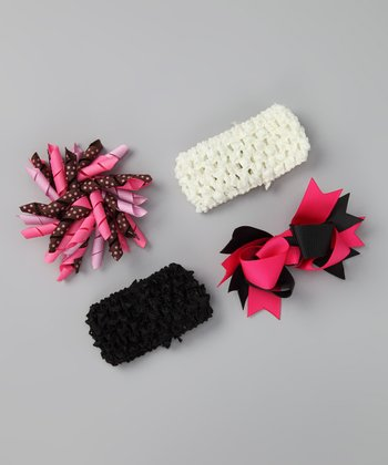 Black & Pink Bring Home Baby Headband Set