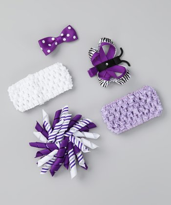 Purple Zebra Bring Home Baby Headband Set