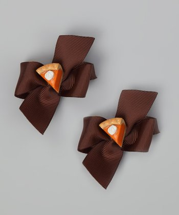 Brown Pumpkin Pie Bow Clip Set