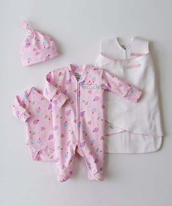 Pink Pin Dot Cupcake SleepSack Swaddle Set