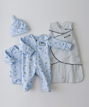 Navy Pin Dot Pup Pal SleepSack Swaddle Set