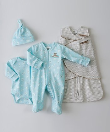Teal & Brown Pin Dot Animal Friend SleepSack Swaddle Set