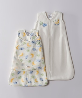 Cream Star & Moon Microfleece HALO SleepSack & Swaddle