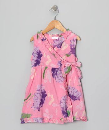 Hydrangea Pink Wrap Dress - Girls
