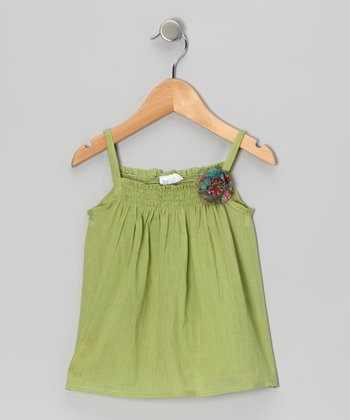 Sol Green Shirred Top - Infant, Toddler & Girls