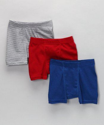 Gray, Red & Blue Boxer Briefs Set - Boys