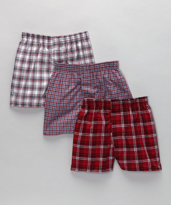 Red Plaid Boxers Set - Boys