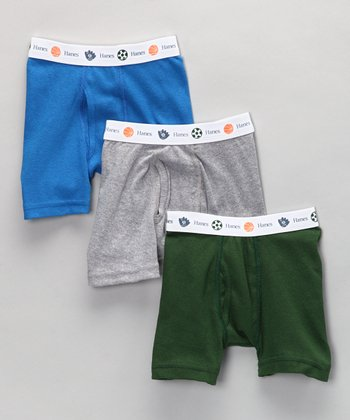 Blue, Gray & Green Boxer Briefs Set - Toddler