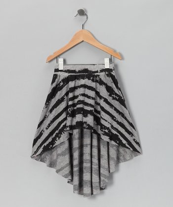 Gray & Black Hi-Low Skirt - Girls