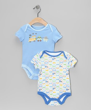 Blue Train Bodysuit Set