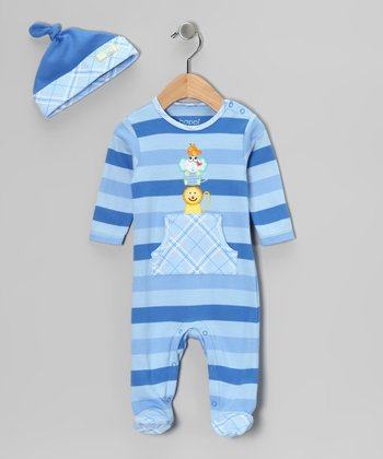 Blue Stripe Kangaroo Pocket Footie & Beanie