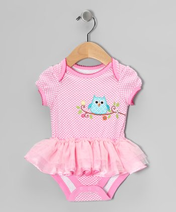 Pink Owl Skirted Bodysuit