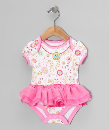 Pink Floral Necklace Skirted Bodysuit - Infant