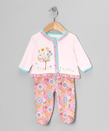Pink Embroidered Tree Ruffle Top & Footie Pants