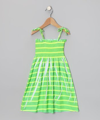 Green & Yellow Stripe Smocked Dress - Girls