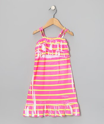 Pink & Yellow Stripe Ruffle Dress - Toddler & Girls