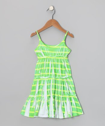 Green & Yellow Stripe Tiered Dress - Toddler & Girls