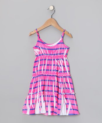 Pink & Purple Stripe Tiered Dress - Toddler & Girls