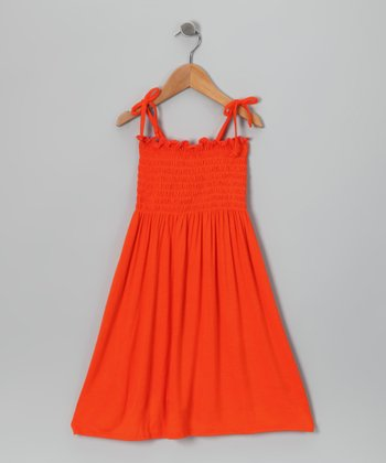 Orange Shirred Dress - Toddler & Girls