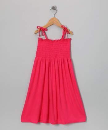 Red Shirred Dress - Toddler & Girls