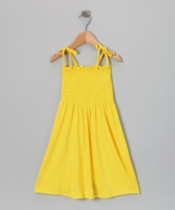 Yellow Shirred Dress - Toddler & Girls