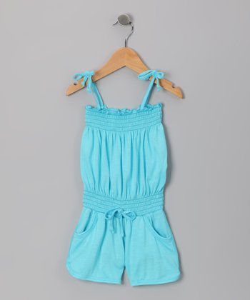 Light Blue Shirred Romper - Toddler & Girls